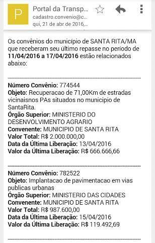 Dados da Secretaria do Tesouro Nacional (STN) mostra que últimos repasses para recuperação de estradas dos povoados ocorreram entre os dias 11 e 17 deste mês