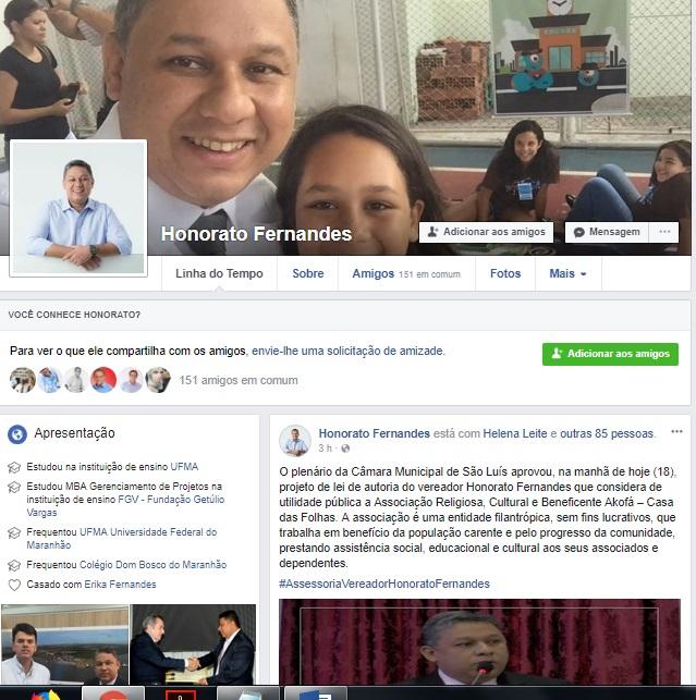 Além de prestar contas, vereador Honorato também usa redes para  interagir com cidadãos