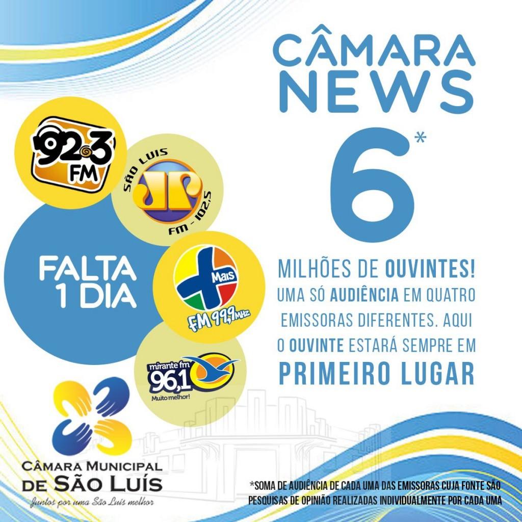 """""""Câmara News"""" passa a ser veiculado, a partir de sexta-feira, dia 1º de junho, na Jovem Pan, Mais FM, 92.3 FM e Mirante FM, com notícias atualizadas sobre o Parlamento. (Foto: Divulgação)"""